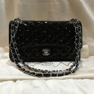 Classic Patent Leather Shoulder Bag Silver Chain